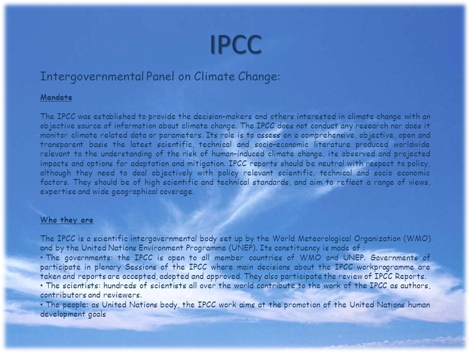 IPCC Intergovernmental Panel on Climate Change: Mandate