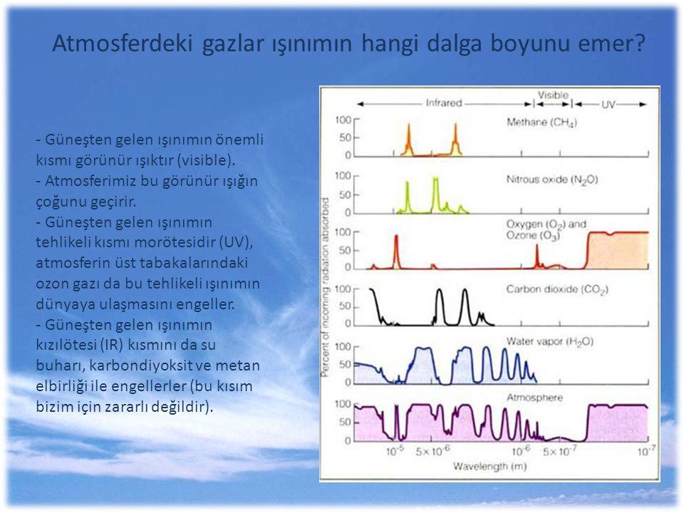 Atmosferdeki gazlar ışınımın hangi dalga boyunu emer