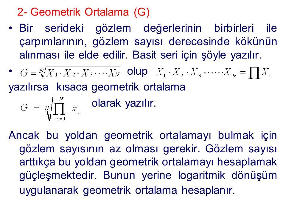 2- Geometrik Ortalama (G)