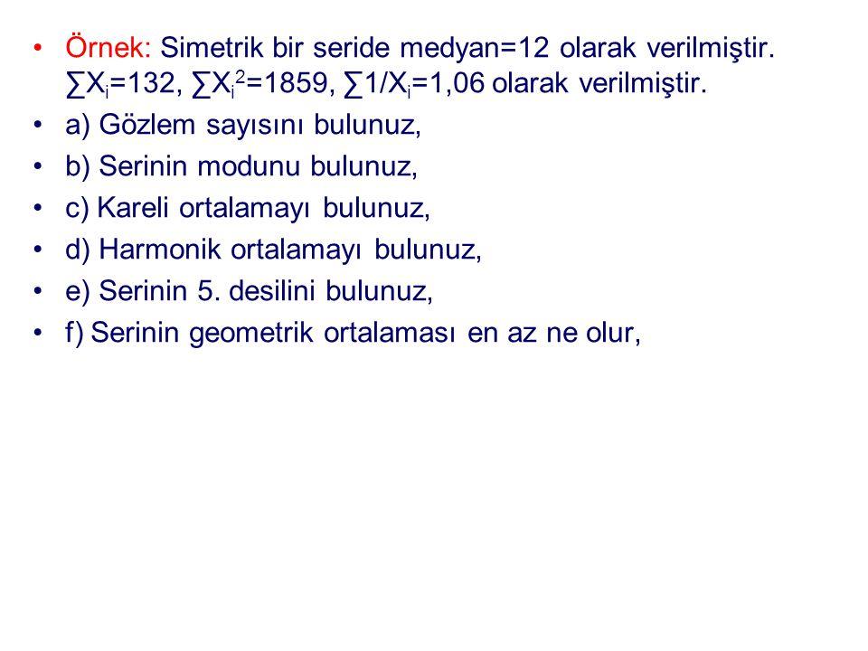 Örnek: Simetrik bir seride medyan=12 olarak verilmiştir