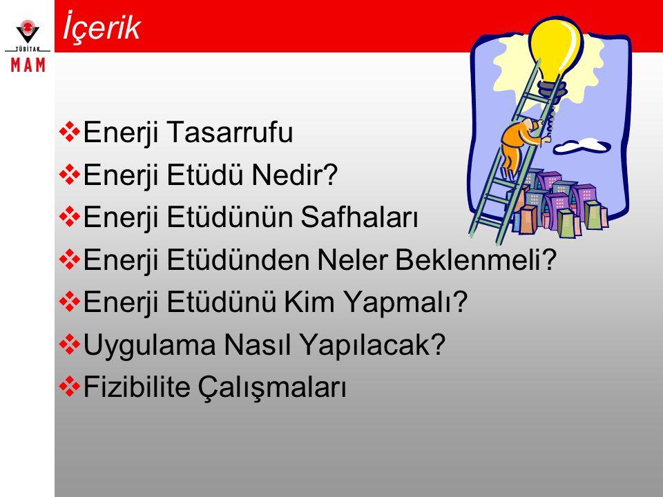 İçerik Enerji Tasarrufu Enerji Etüdü Nedir Enerji Etüdünün Safhaları