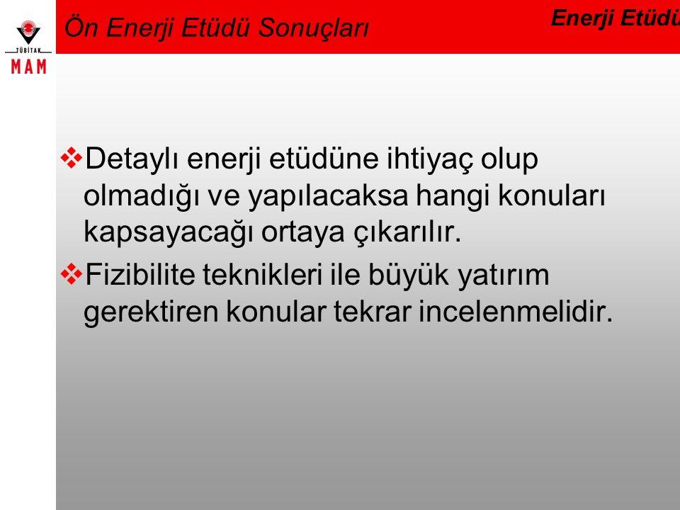 Ön Enerji Etüdü Sonuçları