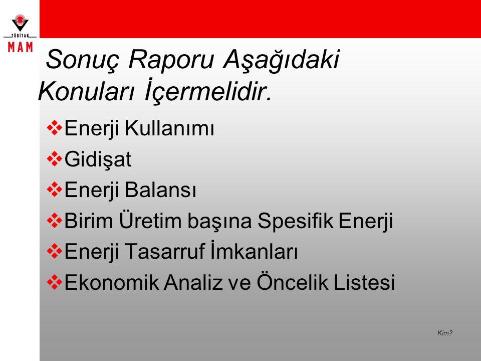 Sonuç Raporu Aşağıdaki Konuları İçermelidir.