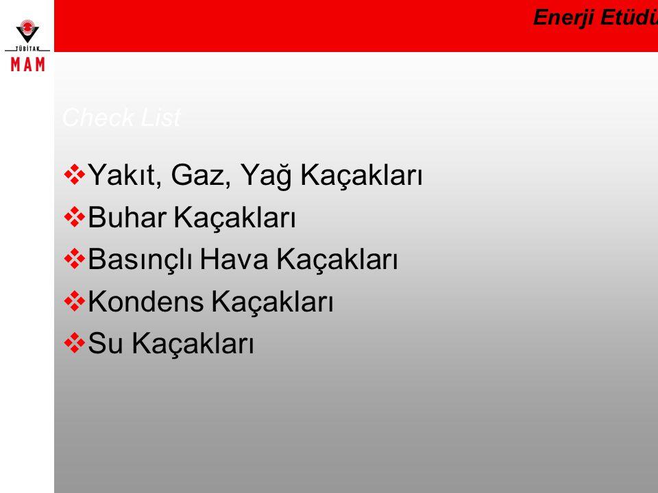 Check List Yakıt, Gaz, Yağ Kaçakları Buhar Kaçakları