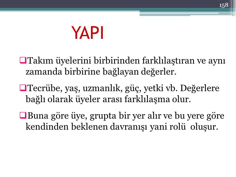 YAPI Takım üyelerini birbirinden farklılaştıran ve aynı zamanda birbirine bağlayan değerler.