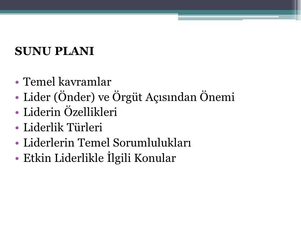 SUNU PLANI Temel kavramlar. Lider (Önder) ve Örgüt Açısından Önemi. Liderin Özellikleri. Liderlik Türleri.