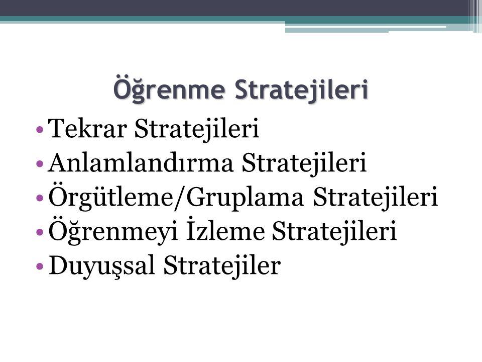 Öğrenme Stratejileri Tekrar Stratejileri. Anlamlandırma Stratejileri. Örgütleme/Gruplama Stratejileri.