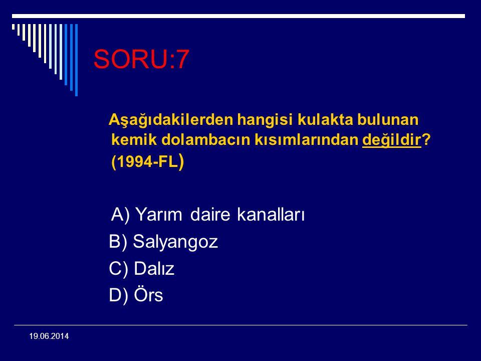 SORU:7 Aşağıdakilerden hangisi kulakta bulunan kemik dolambacın kısımlarından değildir (1994-FL)