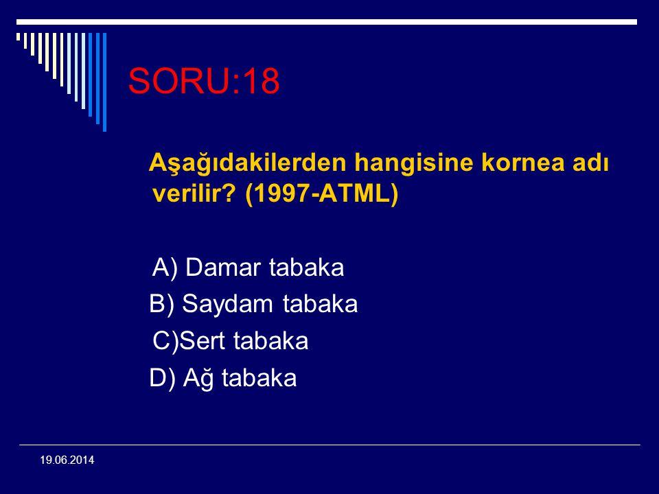 SORU:18 Aşağıdakilerden hangisine kornea adı verilir (1997-ATML)