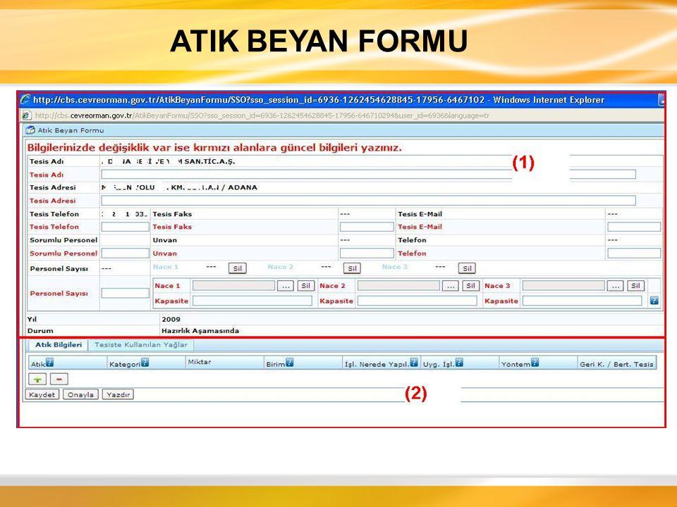 ATIK BEYAN FORMU