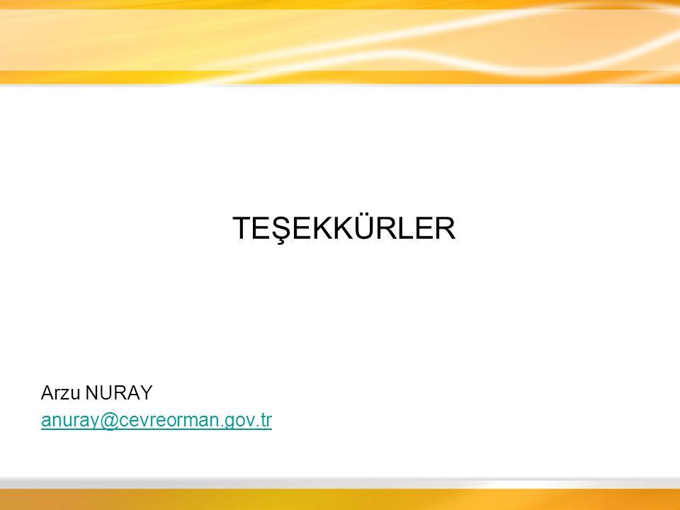 TEŞEKKÜRLER Arzu NURAY anuray@cevreorman.gov.tr