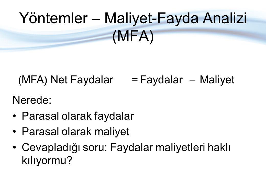 Yöntemler – Maliyet-Fayda Analizi (MFA)