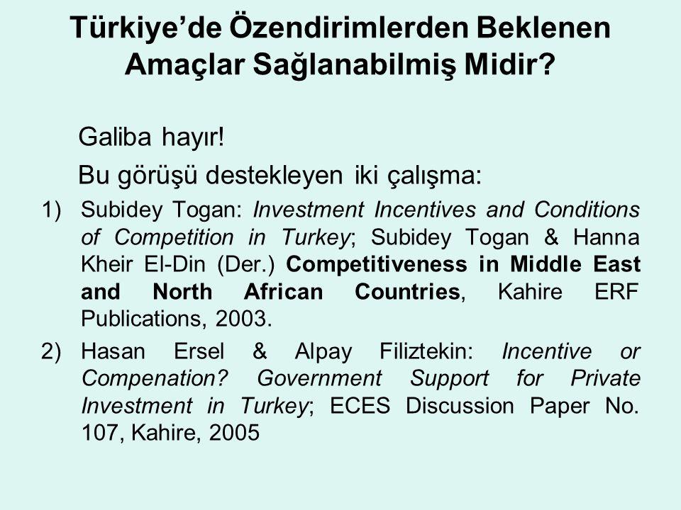 Türkiye'de Özendirimlerden Beklenen Amaçlar Sağlanabilmiş Midir