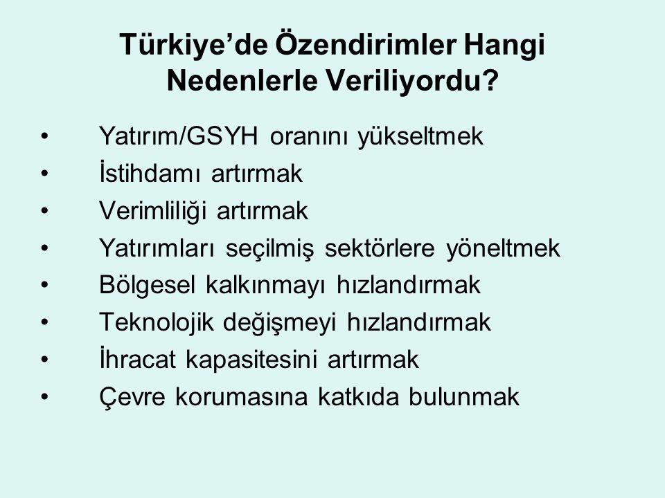 Türkiye'de Özendirimler Hangi Nedenlerle Veriliyordu