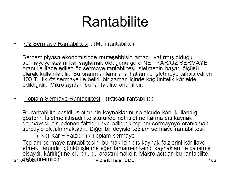 Rantabilite Öz Sermaye Rantabilitesi : (Mali rantabilite)