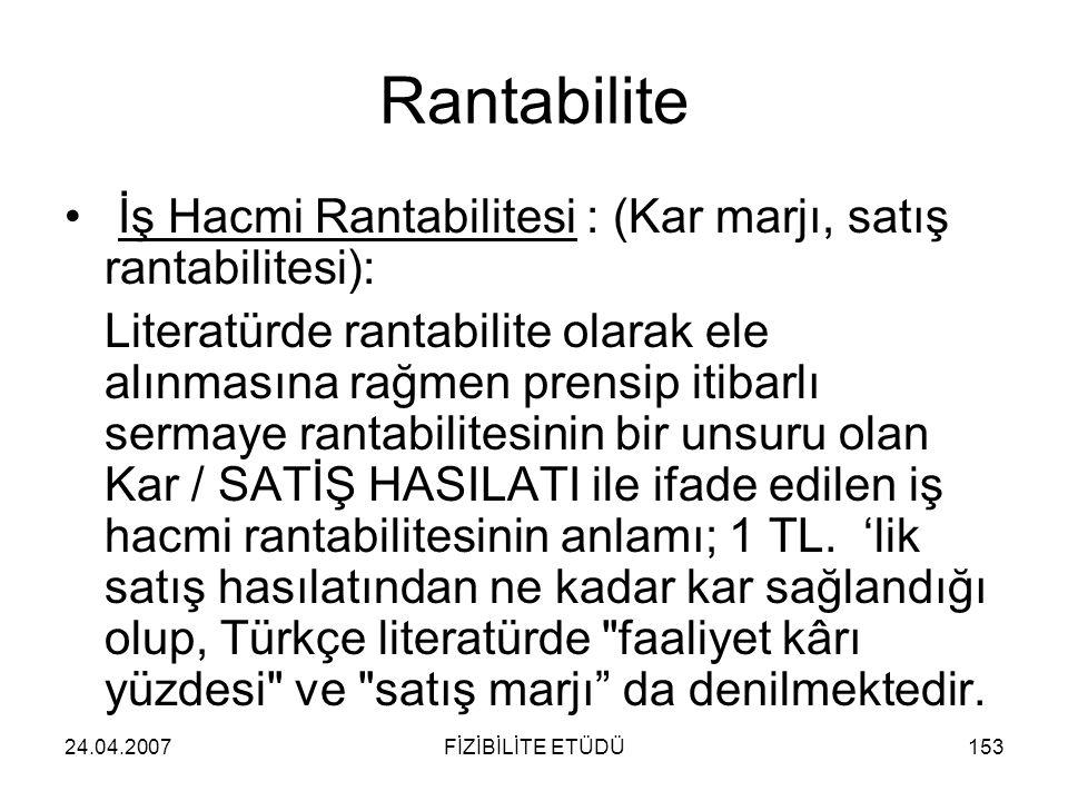 Rantabilite İş Hacmi Rantabilitesi : (Kar marjı, satış rantabilitesi):