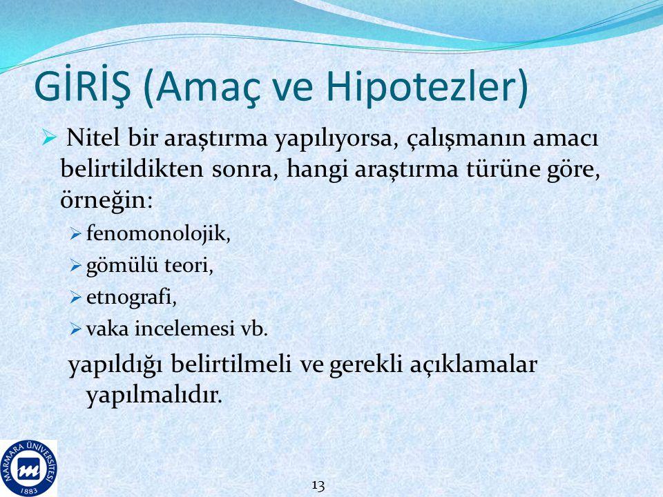 GİRİŞ (Amaç ve Hipotezler)