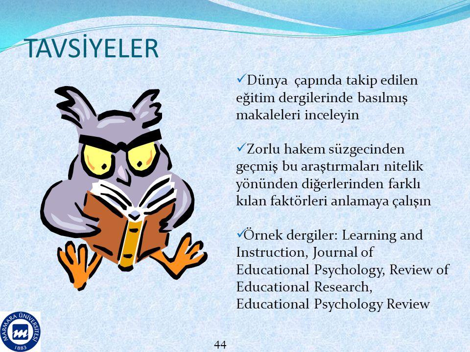 TAVSİYELER Dünya çapında takip edilen eğitim dergilerinde basılmış makaleleri inceleyin.