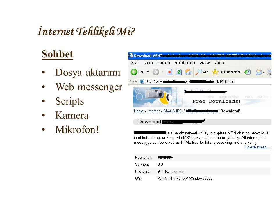 İnternet Tehlikeli Mi Sohbet Dosya aktarımı Web messenger Scripts
