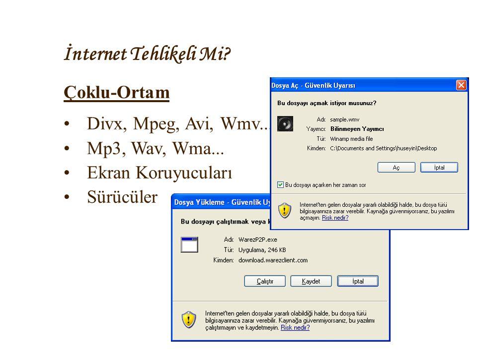 İnternet Tehlikeli Mi Çoklu-Ortam Divx, Mpeg, Avi, Wmv...