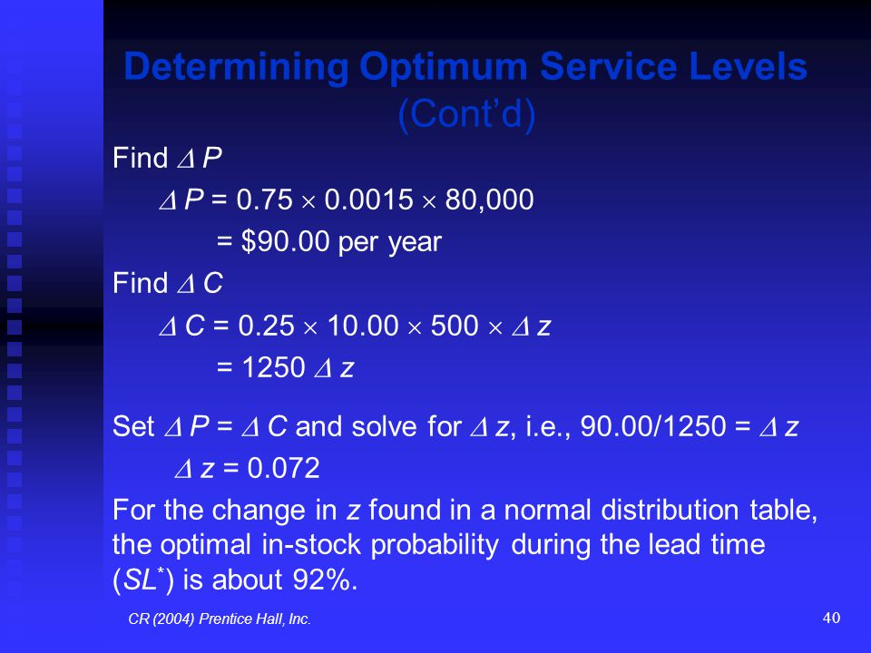 Determining Optimum Service Levels (Cont'd)