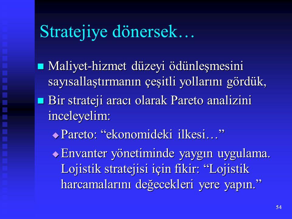 Stratejiye dönersek… Maliyet-hizmet düzeyi ödünleşmesini sayısallaştırmanın çeşitli yollarını gördük,