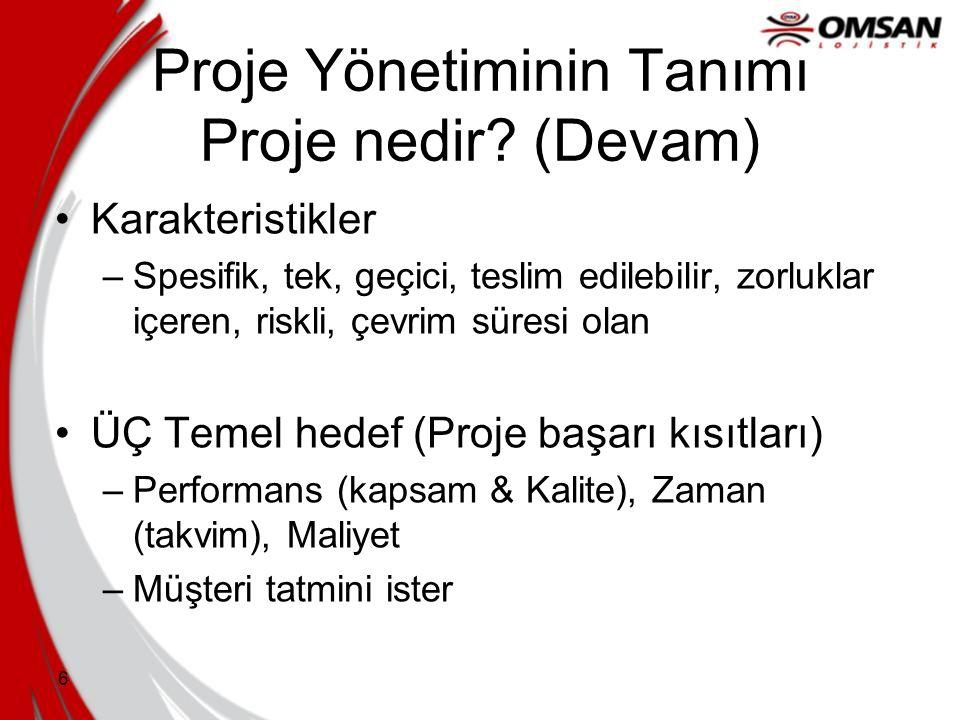 Proje Yönetiminin Tanımı Proje nedir (Devam)