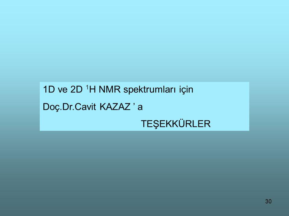 1D ve 2D 1H NMR spektrumları için