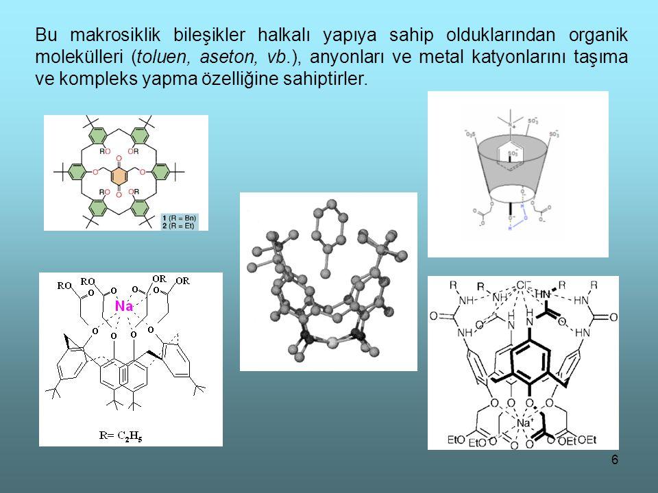 Bu makrosiklik bileşikler halkalı yapıya sahip olduklarından organik molekülleri (toluen, aseton, vb.), anyonları ve metal katyonlarını taşıma ve kompleks yapma özelliğine sahiptirler.