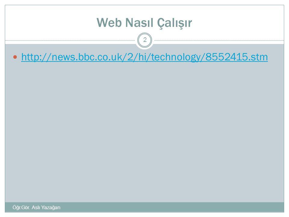 Web Nasıl Çalışır http://news.bbc.co.uk/2/hi/technology/8552415.stm