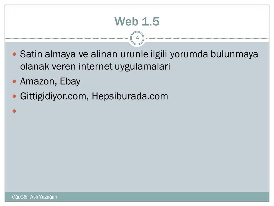 Web 1.5 Satin almaya ve alinan urunle ilgili yorumda bulunmaya olanak veren internet uygulamalari. Amazon, Ebay.