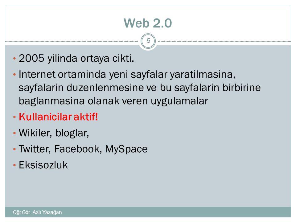 Web 2.0 2005 yilinda ortaya cikti.