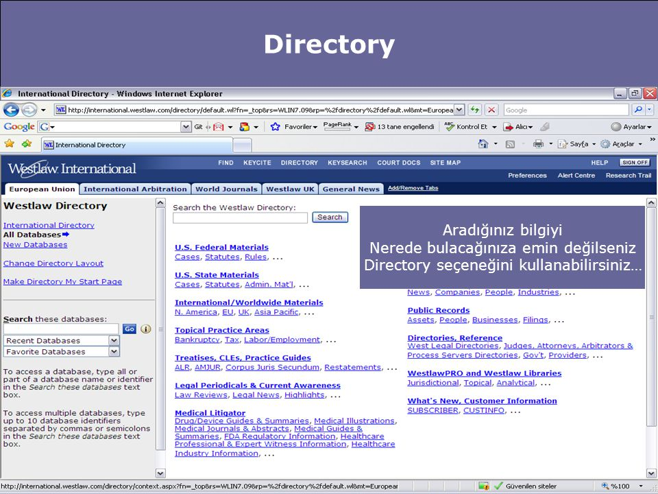 Directory Aradığınız bilgiyi Nerede bulacağınıza emin değilseniz