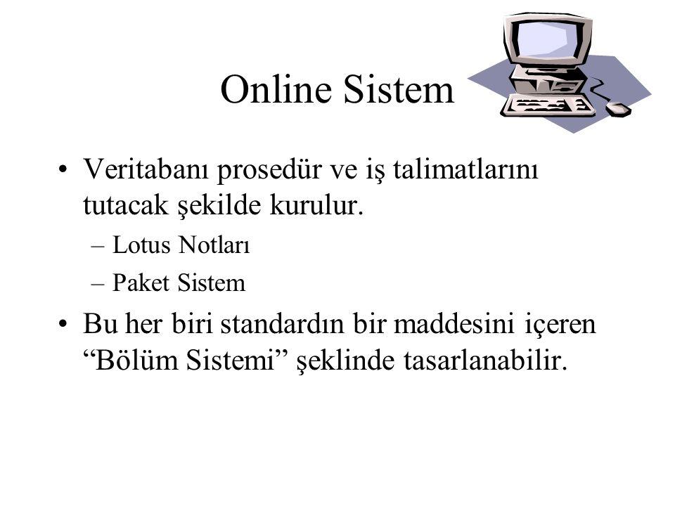 Online Sistem Veritabanı prosedür ve iş talimatlarını tutacak şekilde kurulur. Lotus Notları. Paket Sistem.