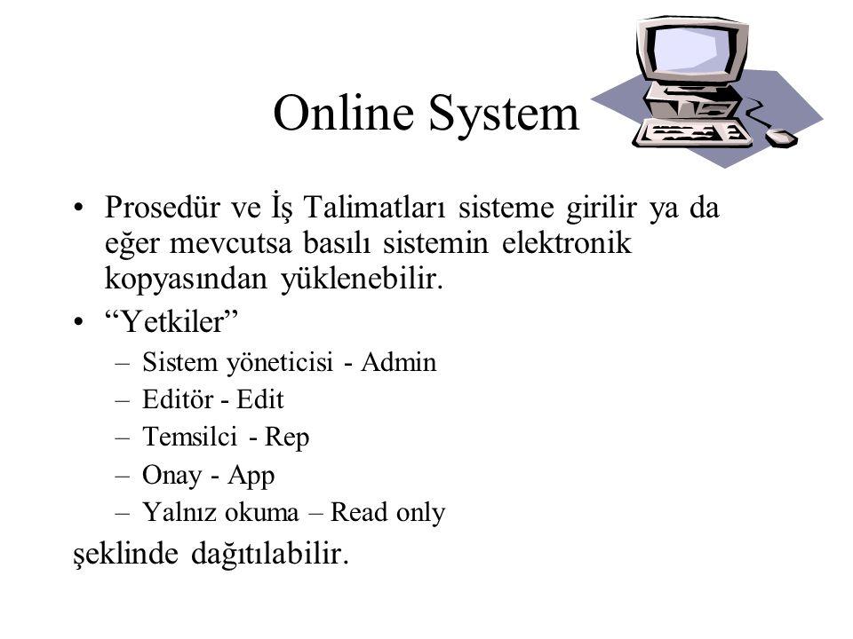 Online System Prosedür ve İş Talimatları sisteme girilir ya da eğer mevcutsa basılı sistemin elektronik kopyasından yüklenebilir.