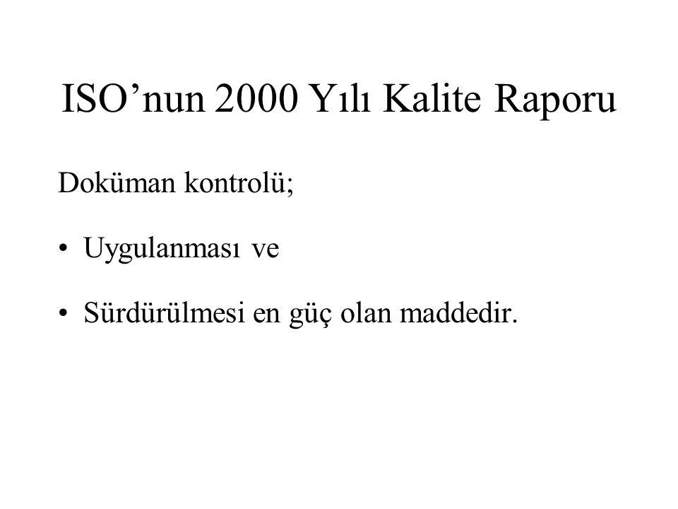 ISO'nun 2000 Yılı Kalite Raporu