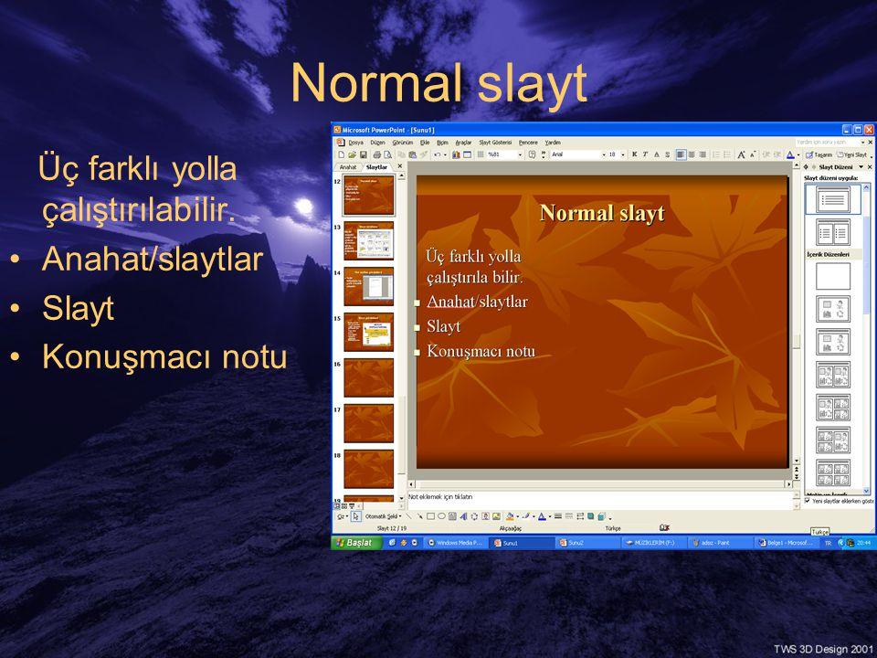 Normal slayt Üç farklı yolla çalıştırılabilir. Anahat/slaytlar Slayt