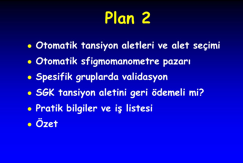 Plan 2 Otomatik tansiyon aletleri ve alet seçimi