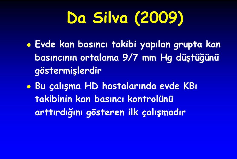 Da Silva (2009) Evde kan basıncı takibi yapılan grupta kan basıncının ortalama 9/7 mm Hg düştüğünü göstermişlerdir.