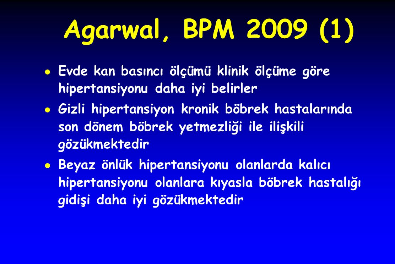 Agarwal, BPM 2009 (1) Evde kan basıncı ölçümü klinik ölçüme göre hipertansiyonu daha iyi belirler.