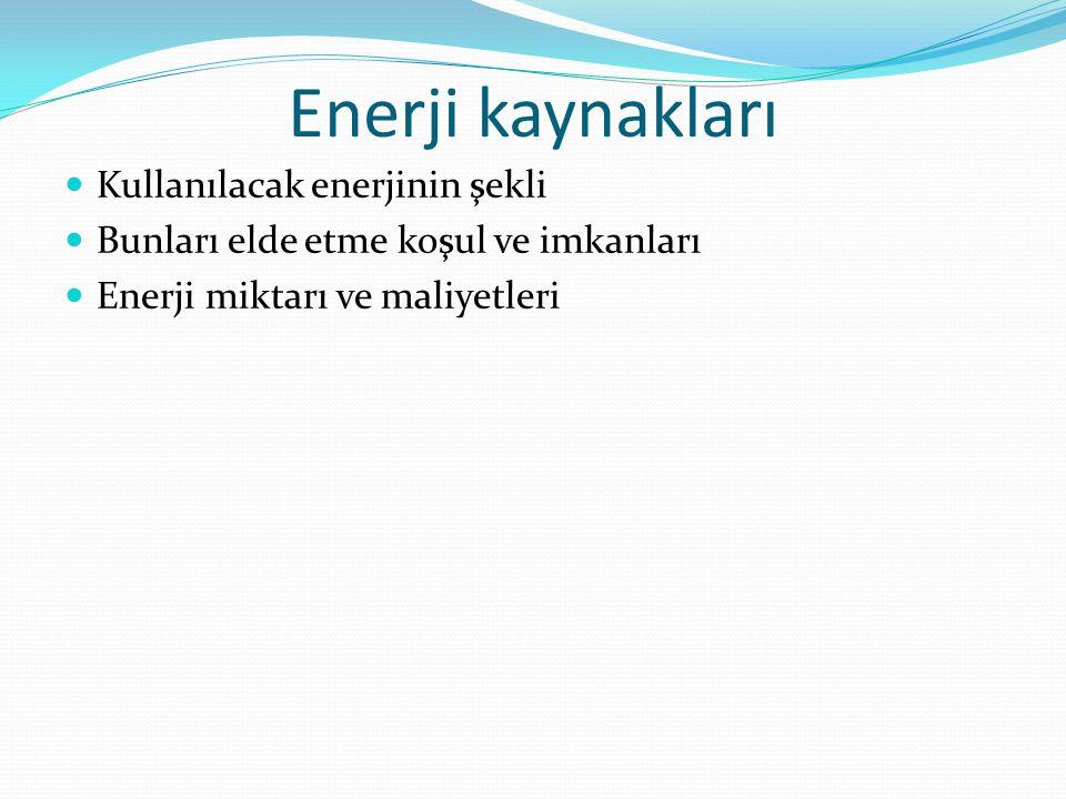 Enerji kaynakları Kullanılacak enerjinin şekli
