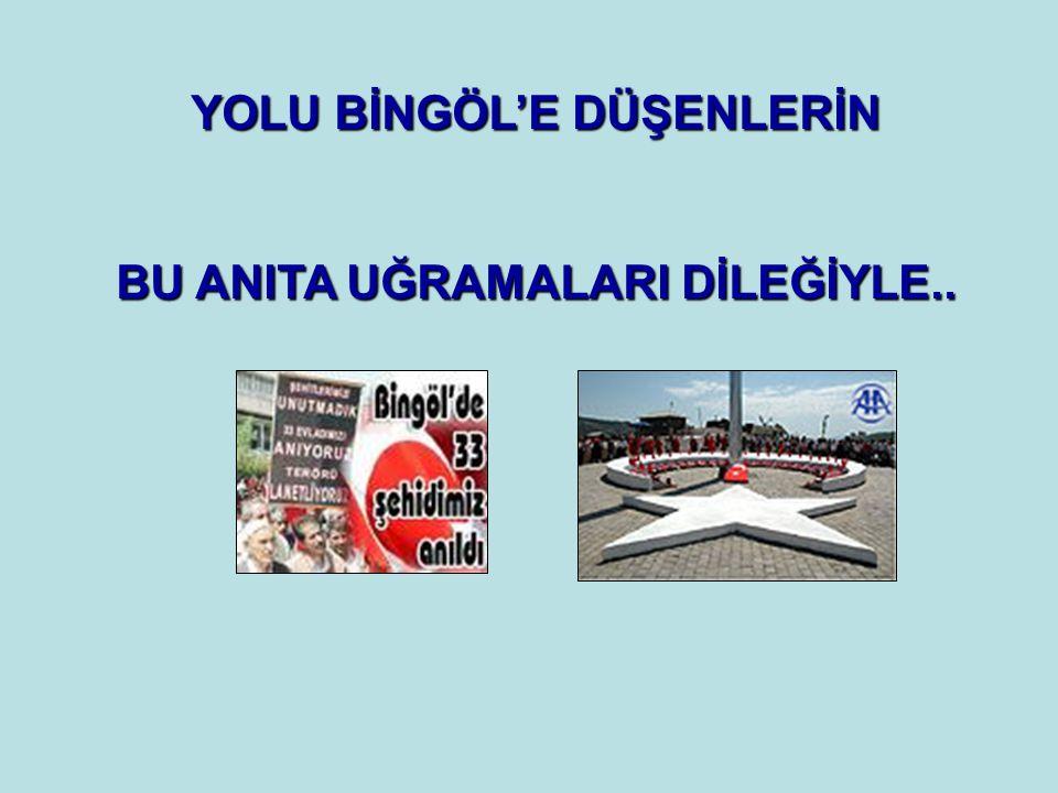 YOLU BİNGÖL'E DÜŞENLERİN BU ANITA UĞRAMALARI DİLEĞİYLE..