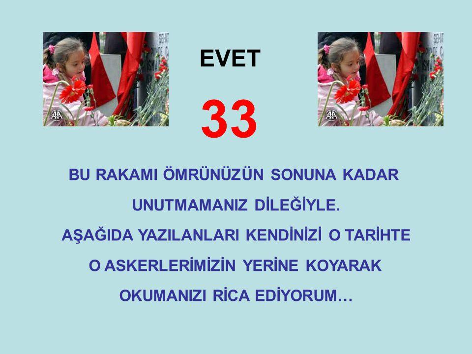 33 EVET BU RAKAMI ÖMRÜNÜZÜN SONUNA KADAR UNUTMAMANIZ DİLEĞİYLE.