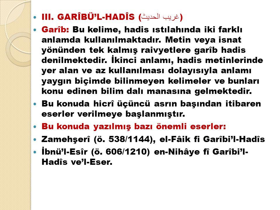III. GARÎBÜ'L-HADÎS (غريب الحديث)