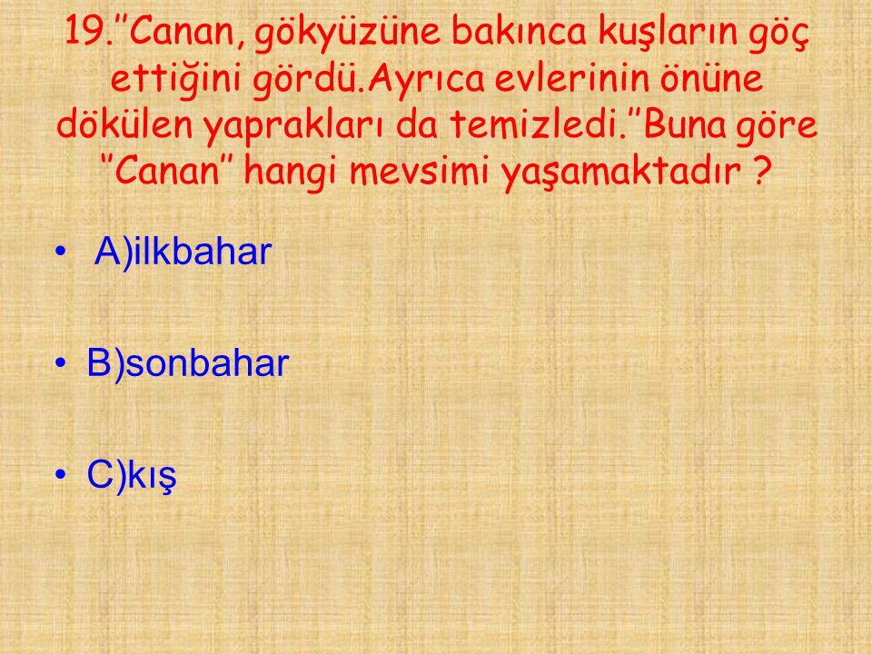19. ''Canan, gökyüzüne bakınca kuşların göç ettiğini gördü