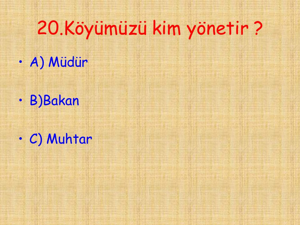 20.Köyümüzü kim yönetir A) Müdür B)Bakan C) Muhtar