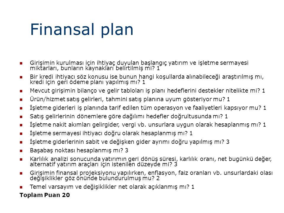Finansal plan Girişimin kurulması için ihtiyaç duyulan başlangıç yatırım ve işletme sermayesi miktarları, bunların kaynakları belirtilmiş mi 1.
