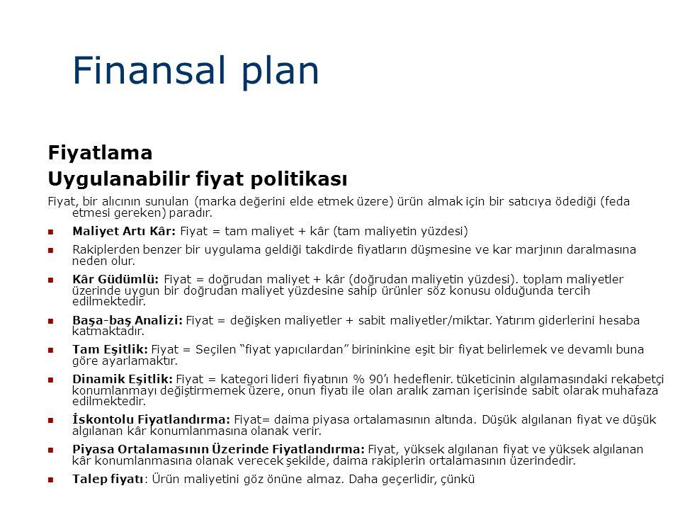 Finansal plan Fiyatlama Uygulanabilir fiyat politikası
