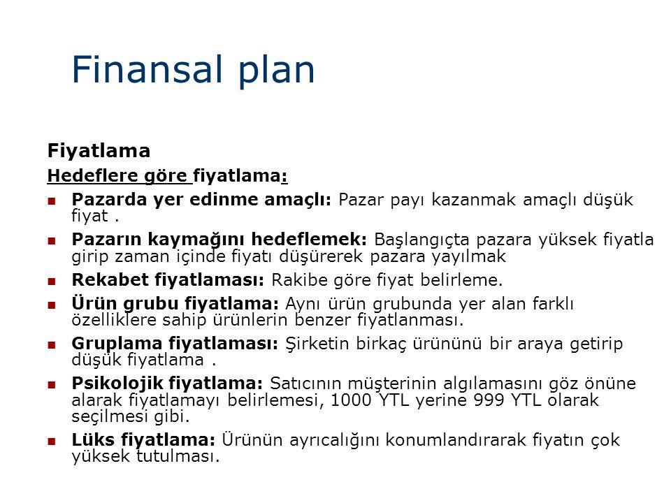 Finansal plan Fiyatlama Hedeflere göre fiyatlama: