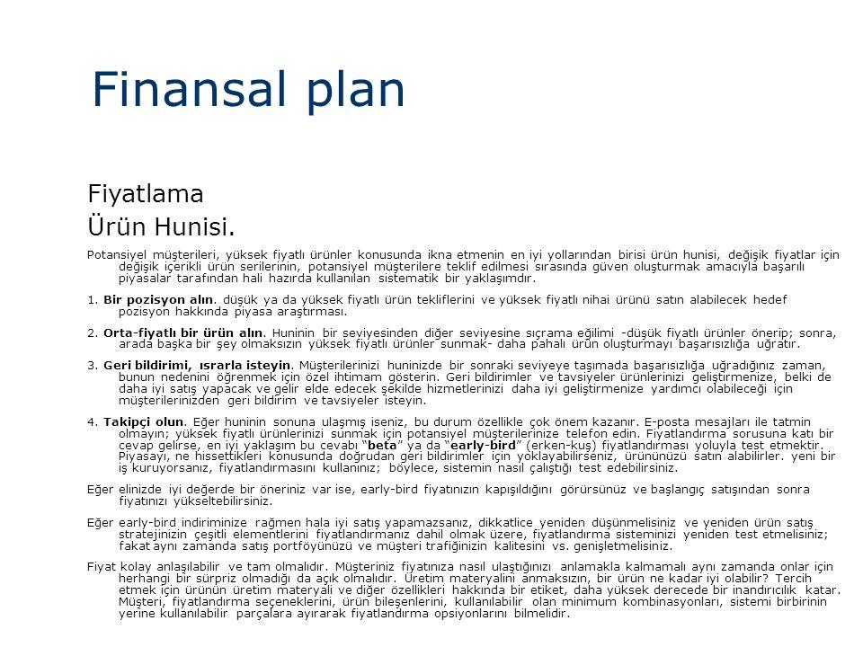 Finansal plan Fiyatlama Ürün Hunisi. 119 119